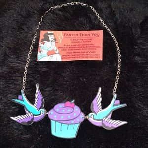 Sparrow and Cupcake necklace